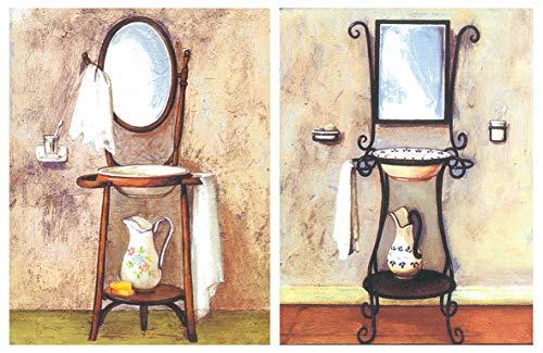 Cuadro Decorativo Vintage lavabos Antiguos. Set 2