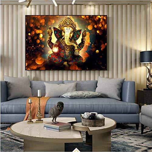 Djkaa Hindu Götter Wandkunst Leinwand Ganesha Götter Leinwand Gemälde An Der Wand Klassische Hinduismus Dekorative Bilder Wohnkultur (Mit Rahmen)