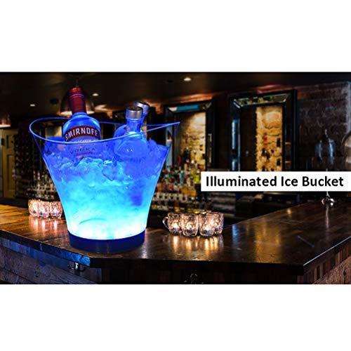 NJXM LED Eiskübel, 6L Großraum Flaschenkühler - Sektkühler - Weinkühler - Getränkekühler, für Party, Haus, Bar, Etc,Blue