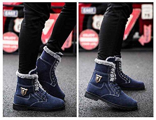 Uomo Martin inglese Stivali Autunno Inverno Moda Stivali alti Scarpe da lavoro classiche Scarpe calde da esterno in cotone Blue