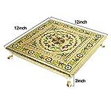 #3: Antique wooden handcrafted meenakari Puja Bajot/table/chowki/chaurang/ganpati sinhasan for gift/puja/wedding/festival/vastu (12x12x2 inch)