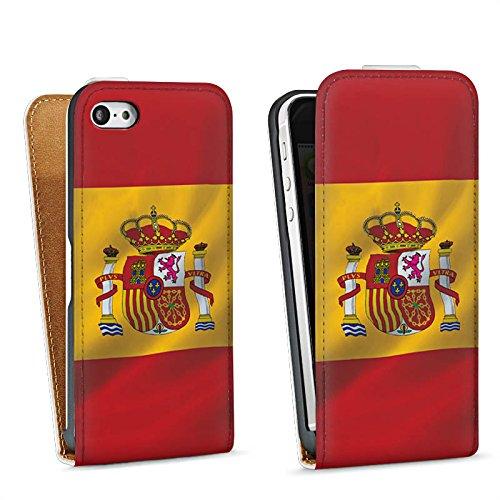 Apple iPhone 5s Housse Étui Protection Coque Espagne Drapeau Espagne Sac Downflip blanc
