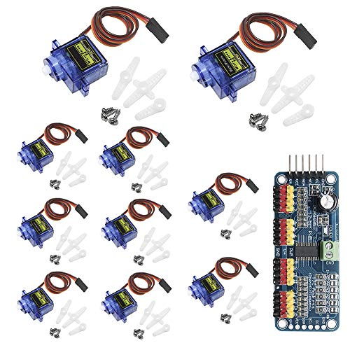 KeeYees 10pcs SG90 9G Micro Servo Motor with PCA9685 16 Channel 12 Bit PWM Servo Motor Driver IIC Module for Arduino Raspberry Pi RC Robot Arm Helicopter Airplane Remote Control (Remote Kit Airplane Control)