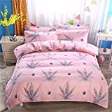 L?SH Bettbezug Vierteilig, Bettwäsche Aus 100% Baumwolle, Pflanzliche Kaschmirbaumwolle, Schleifend, Vierteilig, Weich Und Bequem, Bettbezug/Bettlaken/Kissenbezug * 2 (2,1,5 m Bett)