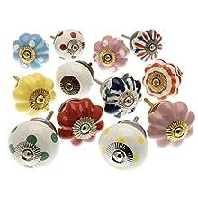 knoa - Lot de 12 boutons de porte en céramique peints à la main pour armoires, placards et tiroirs