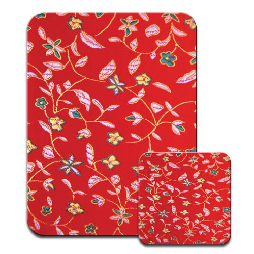 tapestry-type-flowers-on-gorgeous-deeo-red-setting-premium-mousematt-coaster-set
