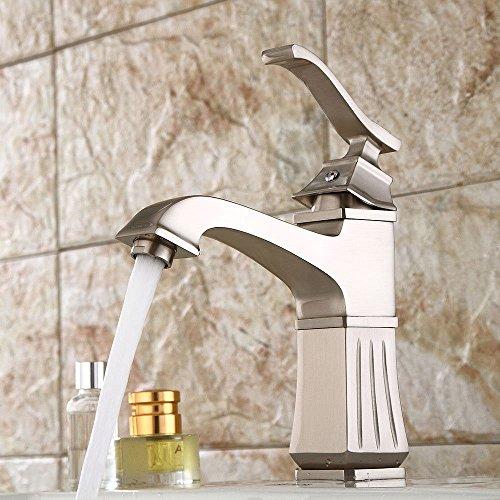 YSRBath Moderne Waschbecken Waschtischarmatur Antik Gebürstetes Coole Retro Quad Einzelne Bohrung Mischbatterie Bad Küche Wasserhahn Badarmatur
