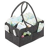 mDesign Wickeltisch Organizer - Wickeltasche mit 4 Fächern und Außentaschen für Windeln, Babyöl, Schnuller etc. - tragbare Baby Box mit Griff aus Kunstfaser - grau