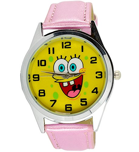 taportr-sponge-bob-square-pants-quartz-watch-pink-leather-band-free-spare-battery-free-gift-bag
