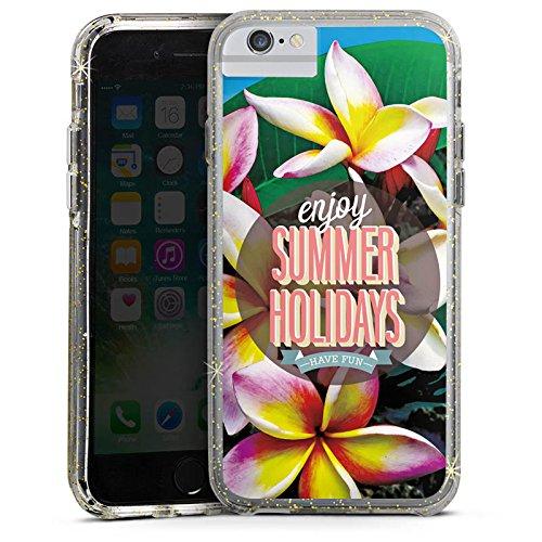 Apple iPhone 8 Bumper Hülle Bumper Case Glitzer Hülle Summer Sommer Ferien Bumper Case Glitzer gold