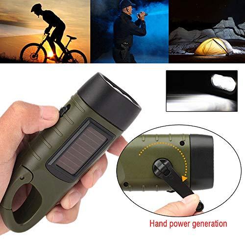 serliy Outdoor Wiederaufladbare 3LED Taschenlampe Handkurbel Dynamo & solarbetriebene Taschenlampe