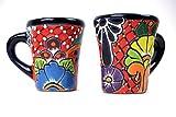 Mexikanische Handwerkskunst: Tasse kegelförmig, groß, handbemalt, rot - einzeln