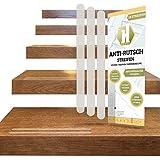 18 Anti-Rutsch-Streifen für Treppen + Anbringhilfe/Transparent, langlebig, selbstklebend als Ersatz Stufenmatte und Treppenteppich, 254x19mm / Haftsteig