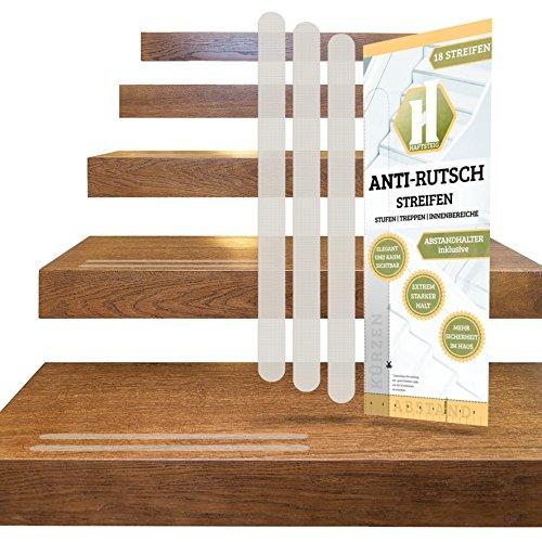 18 Treppen-Rutschschutz-Streifen transparent + Anbringhilfe / Anti-Rutsch Sticker Treppenteppich, Stufenmatten, Antirutschstreifen Lang (380mm x 20mm) / Haftsteig