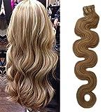 Ruban dans les cheveux Extensionis Body Wave Beige Blond avec Bleach Blond Points culminants 40g 20pcs / Ensemble Balayage Blond résistant à la chaleur douce Bande bouclée22Pouces, 18-613)