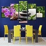SUYUN Pintura Decorativa,Flores y Piedras Wulian bambú Hoja Verde impresión Home Room Pintura Pintura de Pared 13 núcleo de Pintura 10x15cmx2 10x20cmx2 10x25cmx1