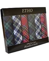 6 Pack Mens/Gentlemens Tartan Handkerchiefs 100% Cotton, Assorted Colours In & Gift Box