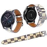 Qianyou Für Samsung S3 Armband, Leder Ersatzband Uhrenarmband für Samsung Gear S3 Frontier/Classic Smartwatch, Damen Herren,Streifen-Weiß
