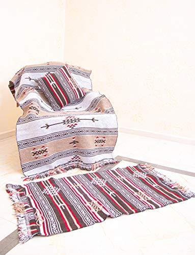 SOLTAKO Naturteppich Kelim Teppich, beidseitig verwendbar, 100% nachhaltige Schurwolle, orientalischer bunter, Boho, Wandteppich, braun/beige, 70 x 140 cm