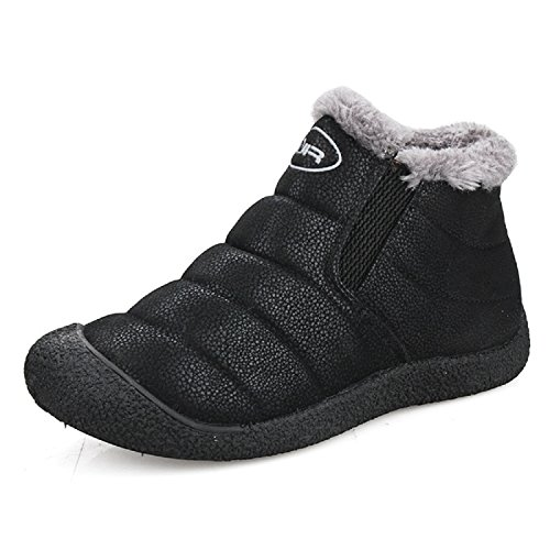 TQGOLD Men Women Warm Ankle Boots Winter Outdoor Snow Boots Leather Waterproof...