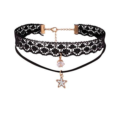 Jazz Jewellery Black Double Strand Zircon Choker Necklace Women and Girls