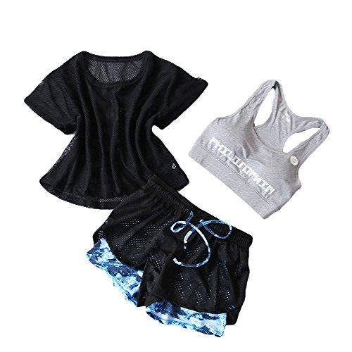 Snsunny Damen 3 Teile Sport Set Trainingsanzug Sport BH Mesh Top und Shorts Set Yoga Outdoor Beiläufig Jogging Sportkleidung(L/Gewicht:50-55kg, Farbe 6)
