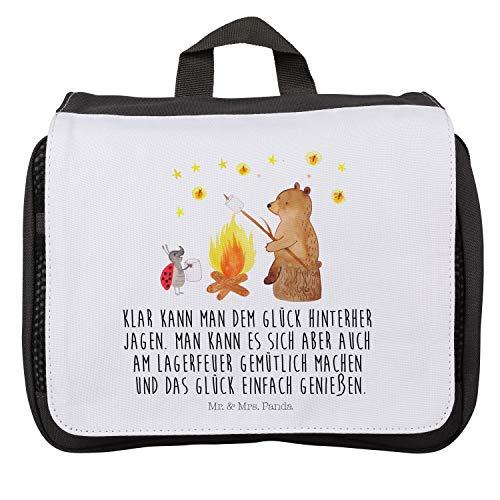 Mr. & Mrs. Panda Waschtasche, Zum Aufhängen, Kulturbeutel Bär & Marienkäfer Lagerfeuer mit Spruch - Farbe Weiß