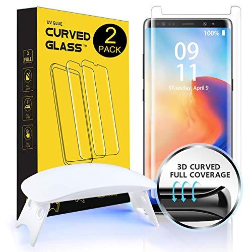 [2 Stück]NI-SHEN Galaxy S9 Plus Panzerglas Schutzfolie, [Gewölbtes Volle Abdeckung][Flüssige Dispersions Technologie][Kompatibles Hülle] Gehärtetem Glas Schutzfolie für Samsung Galaxy S9 Plus -