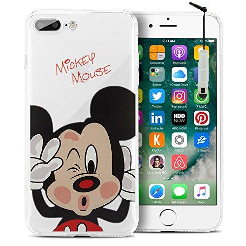 "VComp-Shop® Transparente Silikon TPU Handy Schutzhülle mit Motiv Cartoon Disney für Apple iPhone 7 Plus 5.5"" - Stitch Mickey Mouse + Mini Eingabestift"