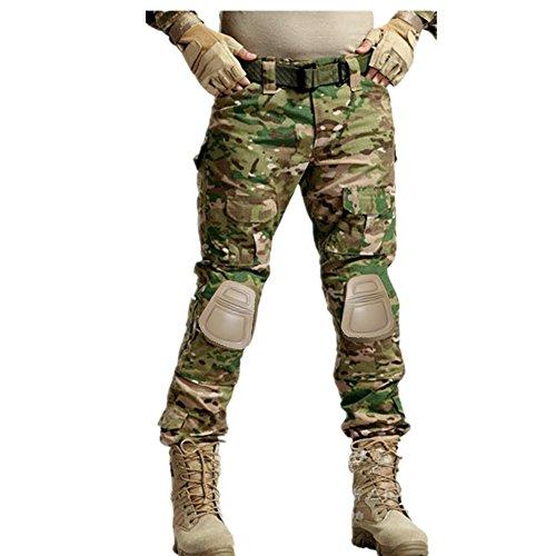 """haoYK Military Paintball BDU Taktische Hosen Camo Airsoft Hosen Multi-Tasche Diensthosen mit Knieschützer Multicam (L (34\""""))"""