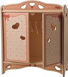 DIDA Puppenschrank aus Holz mit Garderobenstange für Puppen bis 35 cm Höhe - Dekoration: Schleifen