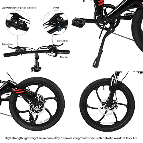 Folding Electric Bike with 20inch Aluminum Alloy 6 Spokes Integrated Wheel, 250W 7 Speed Foldable Electric Bicycle E-Bike with Removable 36V 7.8Ah LG Battery (UK STOCK)