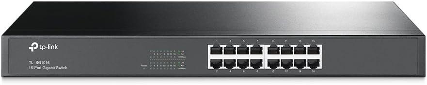 TP-Link TL-SG1016 16-Port Rackmount Gigabit Switch (Plug&Play, Gigabit Ports, Metallgehäuse, Lifetime warranty)