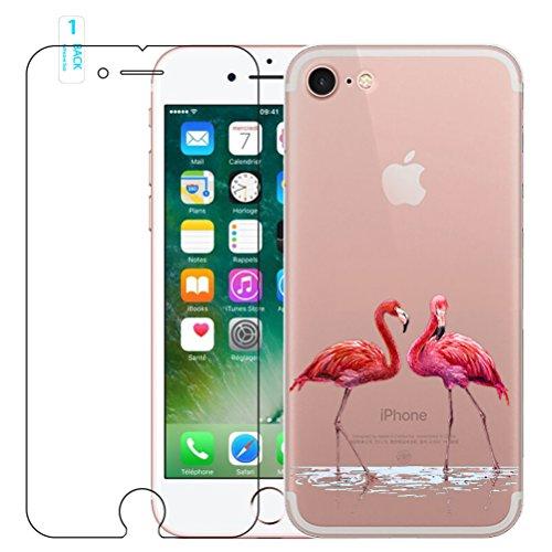 iPhone 6/6s Flamant rose Coque en silicone avec protection d'écran en verre trempé, Blossom01Ultra mince souple en gel TPU Coque de protection en silicone avec motif de dessin animé pour iPhone 6/6s  #04