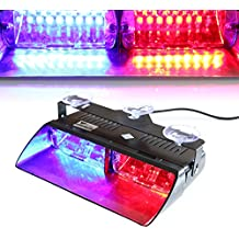 T Tocas Alta Intensidad 16 LED aplicación de la ley de policía Policía Lámparas de peligro de advertencia de emergencia luces estroboscópicas para el vehículo del carro del coche SUV interior del techo / tablero de instrumentos / parabrisas con ventosas (rojo-azul)