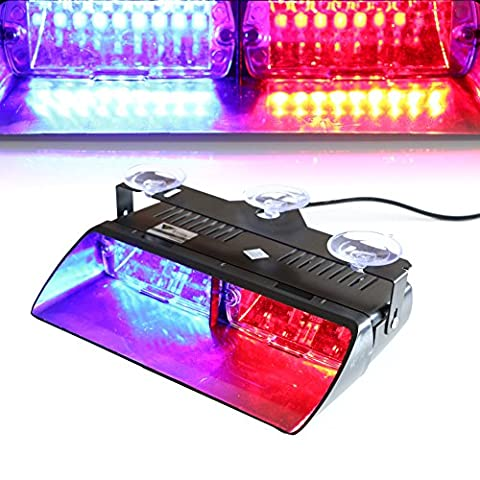 T Tocas(tm) High Intensity 16 LED Police Law Enforcement Emergency Hazard Lamps Police Warning Strobe Lights for Vehicle Car Truck SUV Interior Roof / Dashboard / Windshield with Suction Cups (Red-Blue)