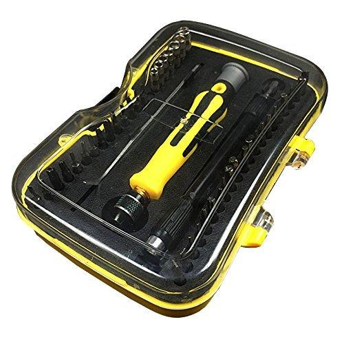 [48 in 1] Präzise magnetisch geschlitzte Phillips Schraubendreher Set mit 45 Bits, Precision Repair Tool Kit für Uhr, Smartphone, iPhone, iPad, Elektronik, Laptop, Tablet und andere Präzisionsgeräte - Gelb (Mini-slide-box)