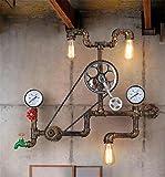 Lampada da Parete Vintage Industrial Lights parete Lampada da parete del riparo della parete camera da letto a catena comodino Corridoio Bar Scala in ferro battuto Tubi ingranaggi Acqua Lampada da parete E27