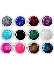 Coscelia Lot de 12 Couleur Big Glittery Paillettes UV Gel Vernis à Ongles Décoration Manucure