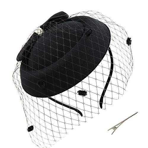 Umeepar Damen Bowknot Pillbox Fascinator Hut Hochzeit Tea Party Hüte mit Schleier Stirnband Clip (Schwarz) (Schleier Hut Schwarzen Mit)