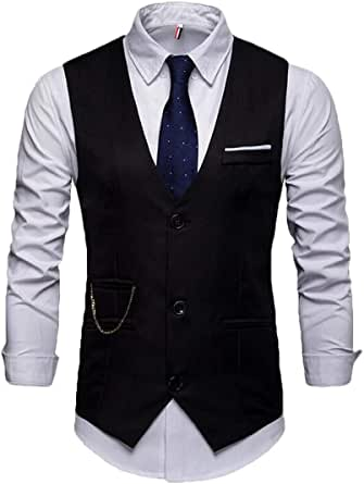 GRMO Men Solid Slim Fit V-Neck Stylish 3 Button Suit Vest Waistcoat