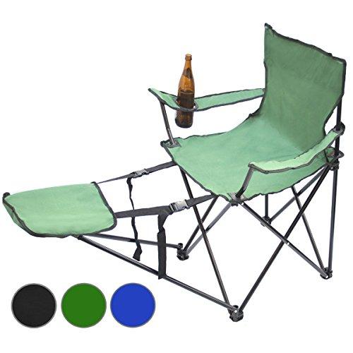 Angelstuhl Campingstuhl mit Fußstütze Camping Angelhocker Campinghocker - grün