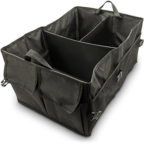 igadgitz U6866 Kofferraum Organizer Auto Polyester Kofferraumtasche (52 x 37 cm x 25,5 cm) für Auto, MPV, Minivan, Vans und Suvs - verstauen Sie Auto-, Heim-, persönliches und Reisezubehör - Schwarz