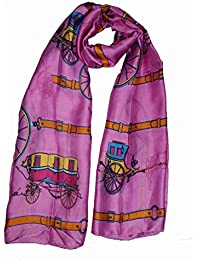 Luxury extra Large chiffon Coach and horse motive scarf (Purple)