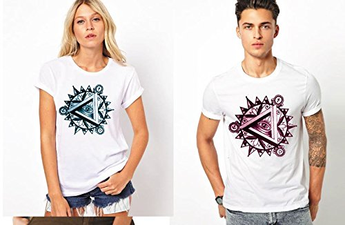 Cosmo Abstract White Cotton Couple Combo Tshirts (Pack of 2)