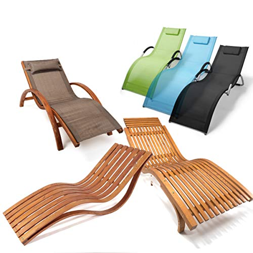Ampel 24 Relax Liegestuhl & Gartenstuhl | 100% wetterfeste Gartenmöbel | Metall oder vorbehandeltes Holz der rustikalen Holzmöbel