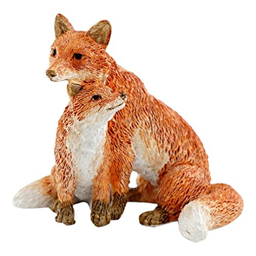 Top Collection Miniatur-Fairy Garden und Terrarium Mama Fox Statue mit Baby, rot