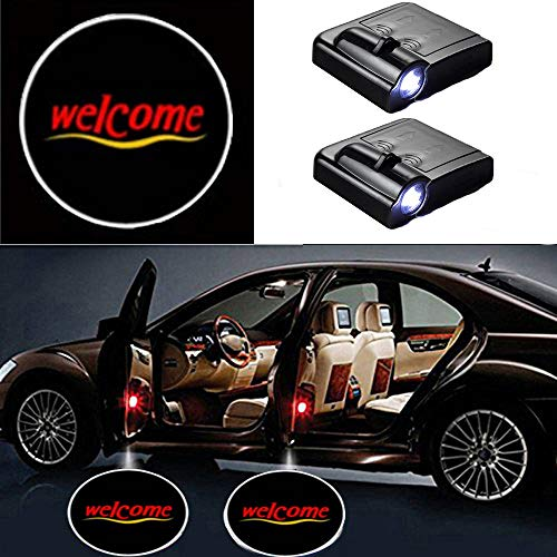 Preisvergleich Produktbild MIVISO 2 Stücke Auto Logo Projektor Ghost Shadow Embleme Drahtlose Autotür Lichter Led Laser Lampe Willkommen Courtesy Licht