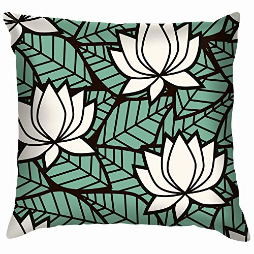 beautiful& Leaves Lotus Flowers Water Lily Nature Flower Funny Square Throw Pillow Cases Cushion Cover for Bedroom Living Room Decorative 18X18 Inch -