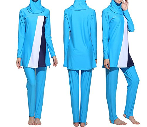 Konservative Muslim Bademode islamischen Badeanzug für Frauen Hijab Badebekleidung Full Deckung Bademode Muslim Schwimmen Beachwear Badeanzug, damen, himmelblau (Deckung Bademode Volle)
